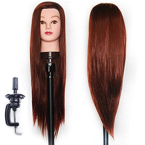 65-70 cm Tête à coiffurer Formation Mannequin Tete d'exercise a coiffer 100% Cheveux synthétique + Titulaire ESJ3318P