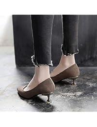 Yukun zapatos de tacón alto Cat and Women s Low Heel Shoes Women s Single Shoes  Pointed Short with Wild Stiletto Autumn Shallow Mouth… 07feb528c235