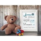 Kunstdruck Baby-Geburtsdaten mit Namen, Ort, Geburtstag, Gewicht und Größe (nur Druck - ohne Rahmen) personalsiert