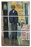 Edward Munch - Selbstbildnis zwischen Uhr und Bett (1940/43), 80 x 120 cm (Dreiteiler, 3 x 80x40cm) (weitere Größen verfügbar), Leinwand auf Keilrahmen gespannt und fertig zum Aufhängen, hochwertiger Kunstdruck aus deutscher Produktion