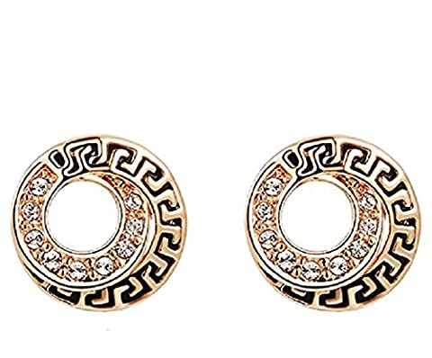 YEAHJOY Bling Jewelry Women's Rose Gold/Platinum Vintage Coin Stud Earrings Crystal Paving Earrings (18ct Rose Gold)