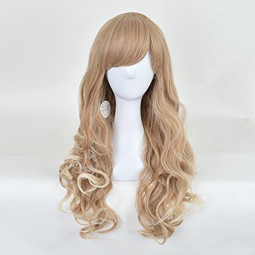 Lino giallo parrucca donne scoppi obliqui parrucca di modo capelli lunghi sexy Role Play