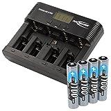 ANSMANN Powerline 5 Pro Akkuladegerät / 5-Fach Ladegerät Zum Laden Entladen & Refreshen/Ideal für Akkus in Den Größen AA AAA C D & 9V / USB-Port für Smartphone & co. / inkl 4 1100mAh AAA Akkus