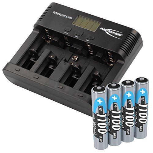 ANSMANN Akku-Ladegerät für AA/AAA/C/D/9V-Block NiMH Akkus - Batterieladegerät mit 5 Ladeprogrammen: Laden, Entladen, Testen, Refresh, Schnellladen + USB | Powerline 5 Pro + 4x 1100mAh AAA Akkus (Akku-ladegeräte Aa-aaa-c-d)