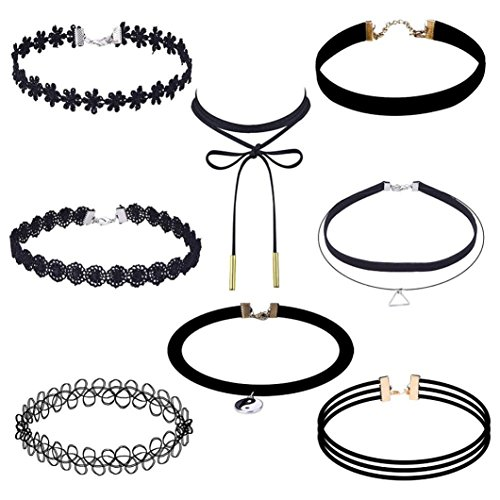 lace-choker-kingwo-8-pieces-choker-necklace-set-stretch-velvet-classic-gothic-tattoo-lace-choker-for