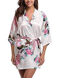 0a91a202a83 Uniquestyle Femme Kimono Robe de Nuit Peignoir Satin Fleurs Paon Vêtements  Chemise de Nuit
