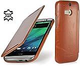 StilGut Book Type Case, Hülle Leder-Tasche für HTC One M8.Seitlich klappbares Flip-Case aus Echtleder für HTC One M8, Cognac