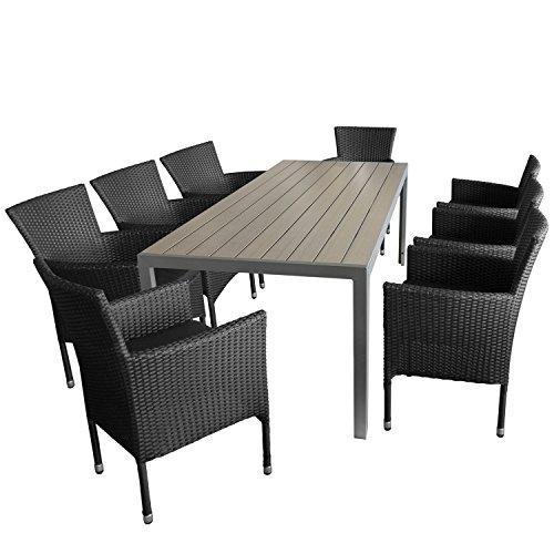 Ensemble de jardin 9 pièces table de jardin en aluminium et polywood plateau de table gris, 205x90x74cm + 8 x Fauteuil en rotin noir empilable avec coussin