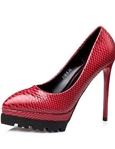 GS~LY Damen-High Heels-Kleid-PU-Stöckelabsatz-Absätze / Spitzschuh / Geschlossene Zehe-Schwarz / Braun / Rot red-us7.5 / eu38 / uk5.5 / cn38