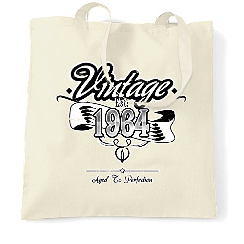 Compleanno Sacchetto Di Tote Vintage Est 1964 Anno di nascita Vecchio tradizionale unico Natural