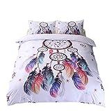 3-teilige Bettwäsche Set Feder Stil aus Polyster inkl.1x Bettbezug, 2xKissenbezüge,200x200 cm, 200x230 cm (Design 1, 200x200 cm)