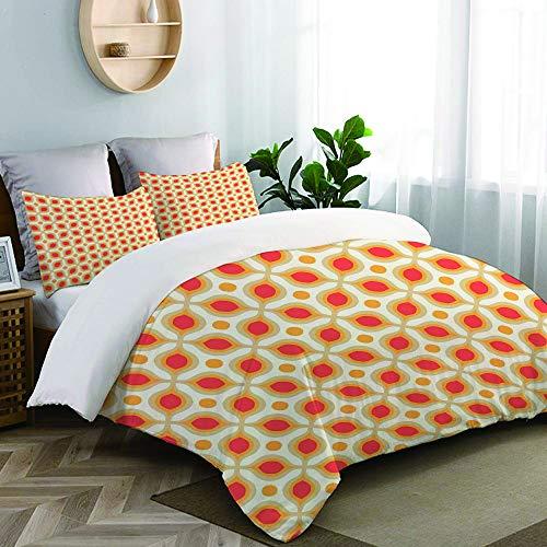 TESCCI Bettwäsche-Set, Mikrofaser,Verknüpfte mutige geometrische Formen 70er Jahre Vintage minimalistische Muster böhmischen Design,1 Bettbezug 135 x 200cm+ 2 Kopfkissenbezug 80x80cm