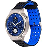 Greatfine 18mm de Pulsera de Reloj Silicona Liberación Reemplazo Correa para Huawei Watch Classic W1 / Huawei Fit / Withings Activite and All 18 MM Watch Band Strap (BlackBlue)
