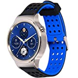 Greatfine 18mm Bracelets de Montres Band Strap de Remplacement Watchband Rechange Bande Huawei Watch/Nokia Health Watch/Huawei Fit/Withings Activite and 18 MM Watch (BlackBlue)