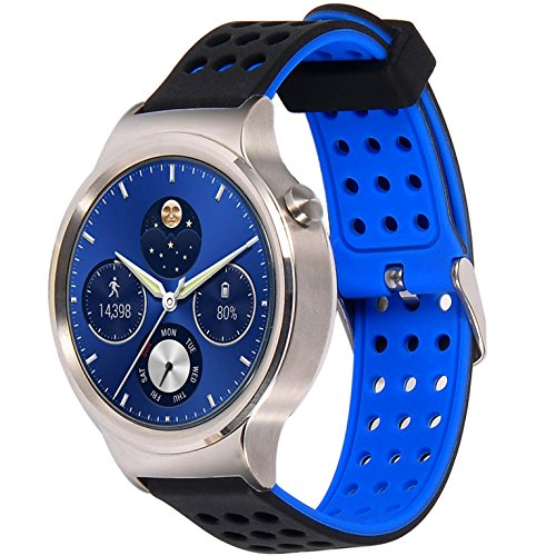 Greatfine 18mm de Pulsera de Reloj Silicona Liberación Reemplazo Correa para Huawei Watch Classic W1 / Huawei Fit / Nokia Health Watch/ Withings Activite and All 18 MM Watch Band Strap (BlackBlue)