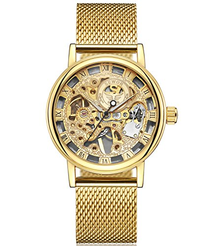 SEWOR Mens Hollow Skeleton Carving Mechanical Hand Wind Wrist Watch with Mesh Band (Gold)