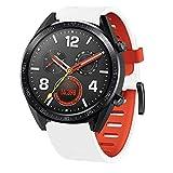 Huawei Watch GT Uhrenarmband - Silikon Fitnesstracker Sportarmband Straps Armbands Soft Silicone Sport Replacement Strap Armband Ersatzband für Huawei Watch GT (Weiß)