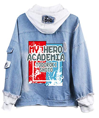 Cosstars My Hero Academia Anime Hoodie Jeansjacke Unisex Cosplay Denim Jacket Outwear Mäntel 4 S -