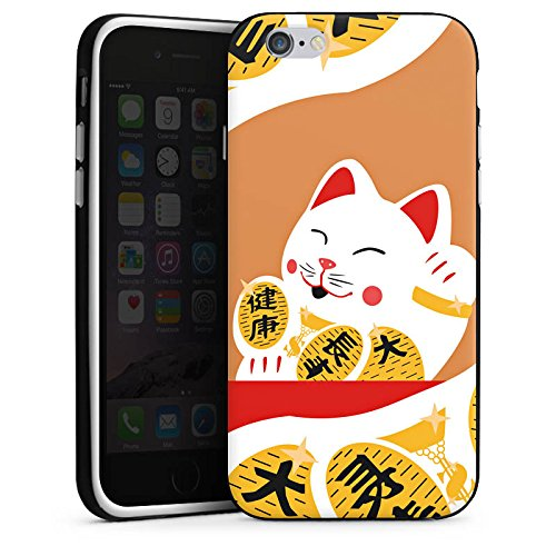 Apple iPhone X Silikon Hülle Case Schutzhülle Japan Katze Cat Silikon Case schwarz / weiß