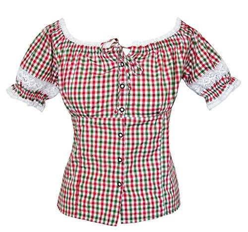 Trachtenbluse Annemarie Rot Grün Gr. XL - Schöne karierte Oktoberfest Bluse im Carmen Stil zur Lederhose für Damen