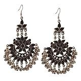 I Jewels Oxidized Silver Afghani Tribal Dangler Hook Chandbali Earrings for Women