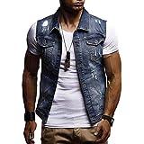 Fuxitoggo Ausverkauf Herren Herbst Winter Destroyed Vintage Jeansjacke Weste Bluse Weste Top (Farbe : Dunkelblau, Größe : CN 3XLUK 22)