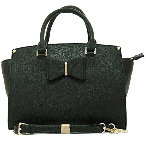 LONDON Fashion HENKEL Handtasche mit Schulterriemen (34 cm Lang - 24 cm Hoch - 16 cm Breit, Schwarz (Schleife Mit Handtasche)