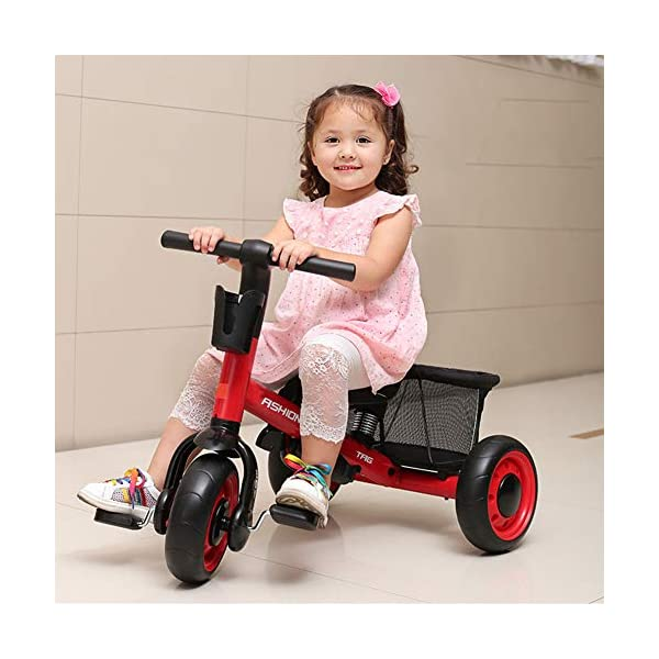 GSDZSY - Deformable Kids Tricycle Baby 3 Wheel Bike 4 In1, With Removable Push Handle Bar And Adjustable Awning,With Frame Shock Absorber,1-3 Years Old,A GSDZSY ❀ Material: high carbon steel + ABS + EVA wheel ❀ Features: The push rod can be adjusted to three heights, suitable for people of different heights; the seat can be adjusted, the adjustable umbrella can be used for different weathers, the bracket is equipped with a shock absorber, and the shock absorption effect is better. ❀ Performance: high carbon steel frame, stronger and stronger bearing capacity; EVA wheel is non-slip and wear resistant, suitable for all kinds of road conditions, good shock absorption capacity, front wheel with clutch device, safer and more reliable 2