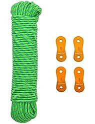 GEERTOP Seil Abspannseile Nylon leuchtend reflektierend Anleitung Mit Aluminium Regler - 15 m 2,5 mm - Für Zelt Outdoor Camping Und Wandern