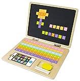 GDTrade Holz-Laptop Tafel Laptop mit Kreidetafel Zeichentafel inkl. Magnet-Tastatur, Tafelkreide, Schwamm und Handy!!