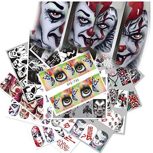 Halloween Waterslide Nail Stickers Smorfia Skull Eye Art Stickers Wrap Manicure Kit 25 Fogli
