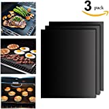BBQ Grill Mats - Set of 3 (16 x 13 Inch) Durable, Non-Stick, Heat Resistant and Dishwasher Safe ,Use on Gas, Charcoal, Electric BBQ Grills