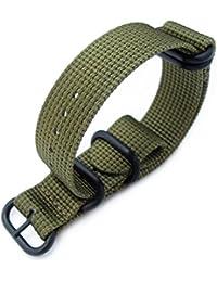 miltat 20mm 5Anillos G10Zulu repelente de agua 3d Nylon Reloj Band, Verde Militar, PVD