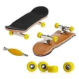 Dairyshop Mini-Finger-Skateboard, Profi-Fingerboard, Ahornholz, für Kinder, 1Bastelset gelb