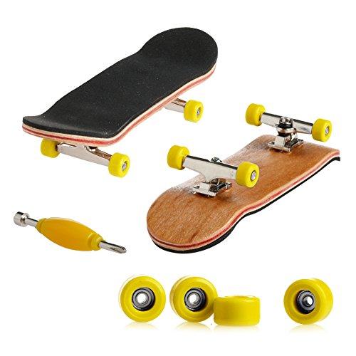 ECMQS Professionelle Typ Lager Räder Skid Pad Ahorn Holz Finger Skateboard Legierung Stent Radlager Griffbrett Neuheit Kinder Spielzeug (Gelb) -