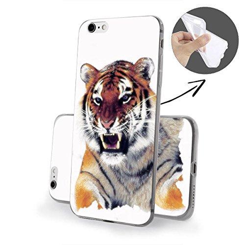 finoo | iPhone 8 Weiche flexible Silikon-Handy-Hülle | Transparente TPU Cover Schale mit Motiv | Tasche Case Etui mit Ultra Slim Rundum-schutz | Gameboy Tiger V1