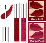 #1: Matte Liquid Lipsticks Set by MI Fashion®|Eagle Red Liquid Lip Gloss Lipstick,Spring Pink Liquid Lipstick|Pure Matte|Water Proof|Smudge Proof|and |Long Lasting| Combo of 2 Lipsticks