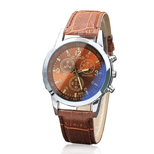 Genossen Luxus-Mode Kunstleder Herren Uhr Analog Quarzuhr Edelstahl schwarz Armbanduhr LANSKIRT (E) -