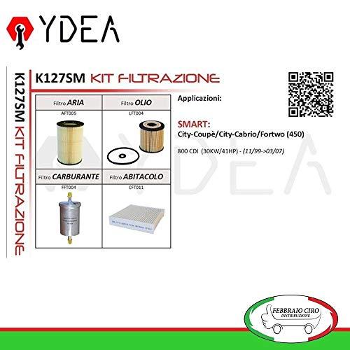 Kit Tagliando Filtri Filtrazione Smart City Coupè City Cabrio Fortwo (450) 800 CDI - Ydea K127SM