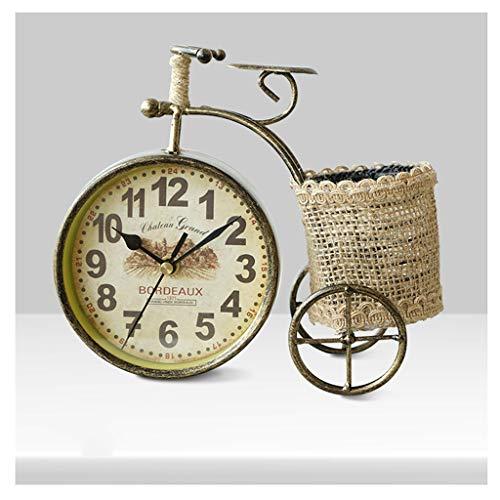 (Pendules murales Horloges de table pour le salon décoration chambres salle de bains rustique horloge de bureau à piles usine analogique non-Ticking Quartz métal rétro vélo) Pendules et horloges