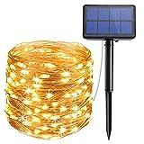 Diswoe Solar Lichterkette Kupferdraht Lichterketten Warmweiß 200LED/20M/8 Modi IP65 Wasserdichte Solarlichterkette für Garten Weihnachten Hochzeit Party