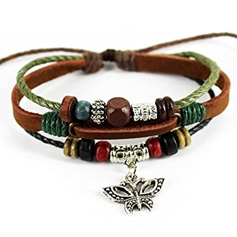 Charm Butterfly Pendant Green Braided Rope Handmade Leather Bracelet by Celokiy - 5 Row Band Ring
