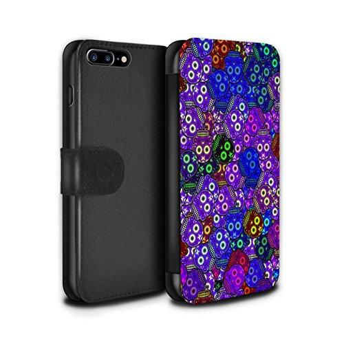Stuff4 Coque/Etui/Housse Cuir PU Case/Cover pour Apple iPhone 7 Plus / Jaune/Rose Design / Crâne Calavera Collection Violet