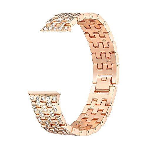 Für Fitbit Versa, Edelstahl Metall Kristall Uhrenarmband, Luxuxlegierungs Quadratischer überlagerter Diamant Bohrstahlband, Handschlaufe Watch Band (Gold)