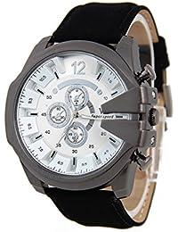 Reloj de pulsera - V6 Reloj de pulsera de cuero de imitacion de esfera para hombres(correa negro y caja blanca)