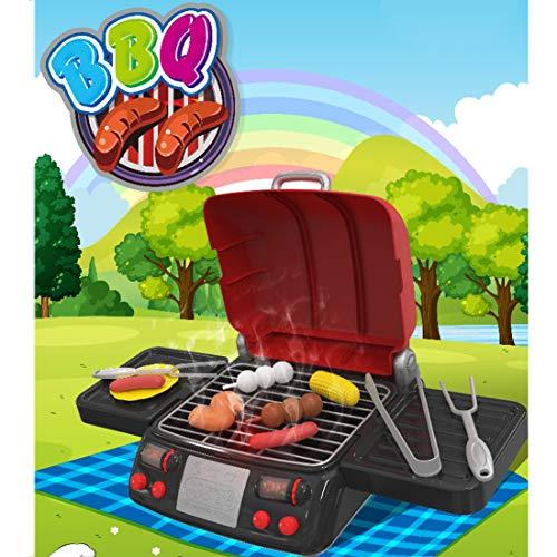 GODNECE Lebensmittel Kinderküche, Elektrisch Grill Spielzeug Kinder mit Licht Ton Dampf Barbecue Spielzeug mit Küche Kinder Zubehör Plastik