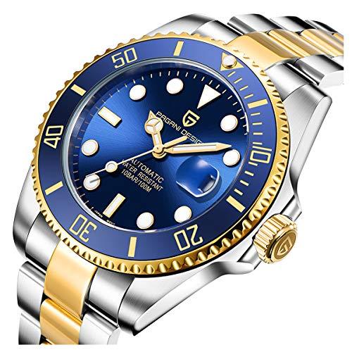 Pagani Design Orologio automatico analogico uomo resistente all'acqua di 100 con cinturino in acciaio inossidabile (oro-blu)