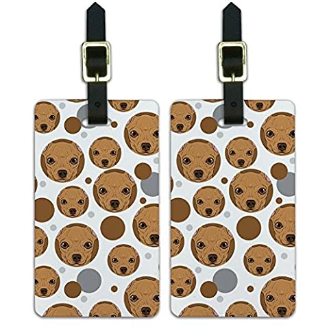 Luggage Suitcase Carry-On ID Tags Set of 2 - Dog Puppy - Chihuahua Face Close up