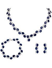 Ever Faith CZ Hochzeit Art Deco S-Formd Schmuck Set Silber-Ton blau N04960-2