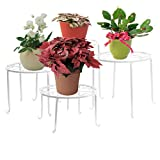 4in 1 Metall Blumen Regale Pflanzenständer Tisch Pflanzentisch Blumenständer (Weiß)